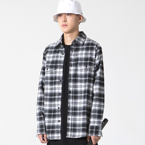 Ombre Check Shirt Black